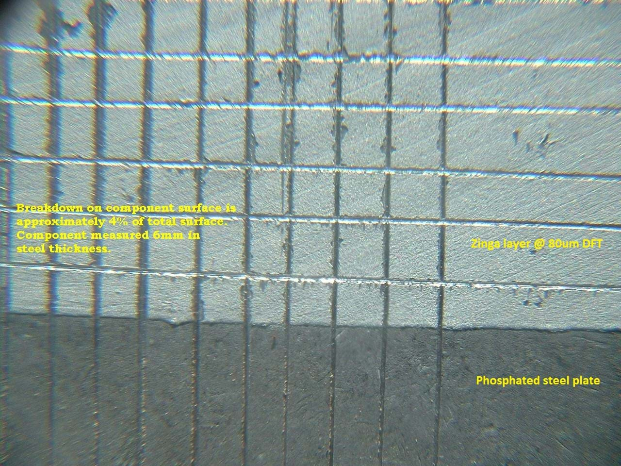 The image shows a phosphated steel plate that has been test with and without zinga